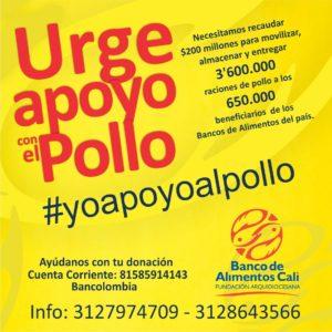 Nuestra campaña #Yoapoyoalpollo busca recolectar 200 millones de pesos para alimentar a 650 mil personas en el país.